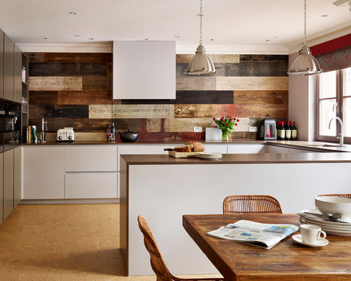 Kitchen Design Ideas Renovations Photos With Grey Cabinets And Cork Flooring