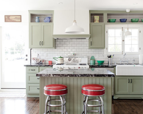 Green And White Kitchen Cabinets green and white kitchen | houzz
