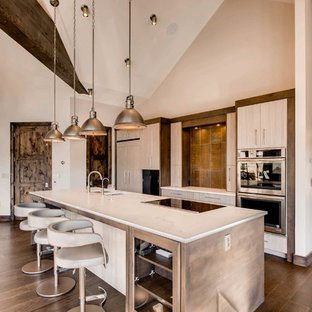 Inspiration for a large modern galley open plan kitchen in Denver with an undermount sink, flat-panel cabinets, grey cabinets, marble benchtops, brown splashback, slate splashback, panelled appliances, dark hardwood floors, with island and brown floor.