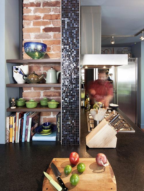 Eclectic kitchen photo in Edmonton with granite countertops