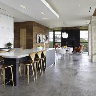 オースティンのモダンスタイルのおしゃれなキッチン (フラットパネル扉のキャビネット、グレーのキャビネット、白いキッチンパネル、シルバーの調理設備の) の写真