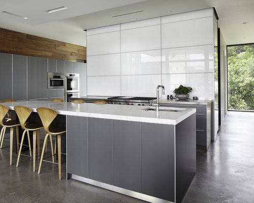 Kitchen   Contemporary Galley Kitchen Idea In Austin With Flat Panel  Cabinets And Gray Cabinets