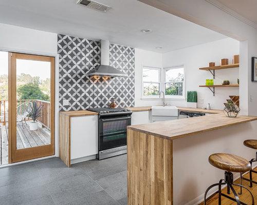 Cucina con top in legno e pavimento in ardesia foto e idee per