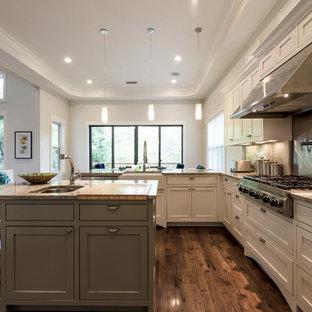 Transitional Kitchen Designs   Transitional U Shaped Dark Wood Floor And  Brown Floor Kitchen Photo