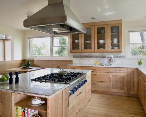 Contemporary Kitchen Idea In Denver With Glass Front Cabinets