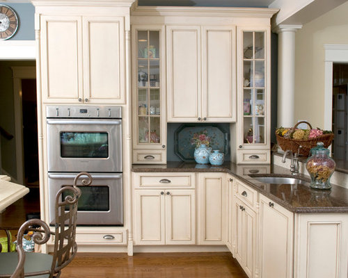 White Cabinets Brown Countertops Houzz