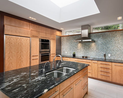 Example Of A Trendy Kitchen Design In Ottawa With Paneled Appliances,  Multicolored Backsplash, Flat