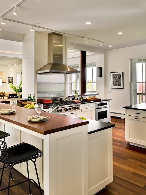 Trendy Open Concept Kitchen Photo In Burlington With Stainless Steel  Appliances, Soapstone Countertops, Shaker