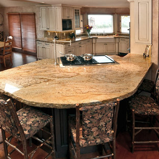 Large Elegant Galley Medium Tone Wood Floor Eat In Kitchen Photo In  Portland With A