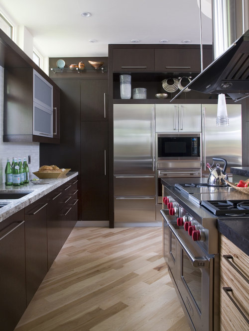 Enclosed Kitchen   Contemporary Enclosed Kitchen Idea In Denver With Stainless  Steel Appliances, Flat