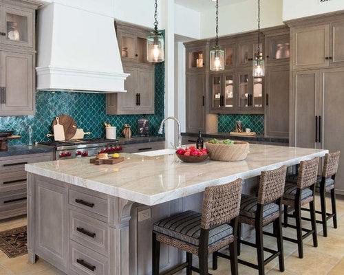 large mediterranean open concept kitchen designs large tuscan l shaped beige floor open concept - Backsplash Kitchen Photos