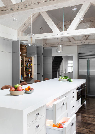 Transitional Kitchen by Sean Litchfield Photography