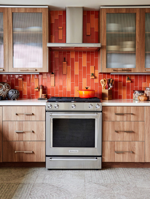 Mid Sized Contemporary Enclosed Kitchen Ideas   Mid Sized Trendy Galley  Porcelain Floor And