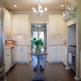 オースティンの小さいエクレクティックスタイルのおしゃれなキッチン (ドロップインシンク、シェーカースタイル扉のキャビネット、ベージュのキャビネット、御影石カウンター、白いキッチンパネル、シルバーの調理設備の、濃色無垢フローリング、アイランドなし、茶色い床、マルチカラーのキッチンカウンター) の写真