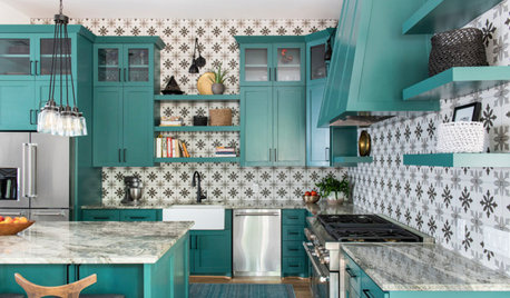 Green Cabinets and Bold Tile for a Remodeled 1920 Kitchen