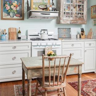 ウィルミントンのシャビーシック調のおしゃれなダイニングキッチン (落し込みパネル扉のキャビネット、ヴィンテージ仕上げキャビネット、白い調理設備、大理石カウンター) の写真
