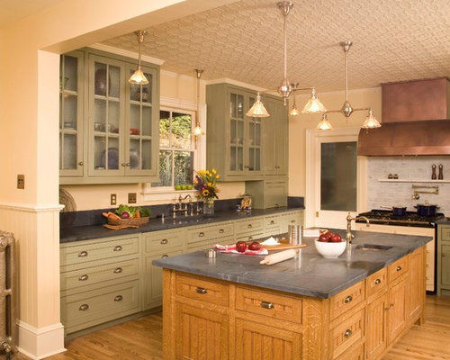 Merveilleux Elegant Kitchen Photo In Seattle With Glass Front Cabinets, Green Cabinets,  Gray Backsplash