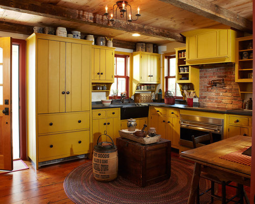 Rustic kitchen design ideas remodel pictures with yellow for Rustic yellow kitchen