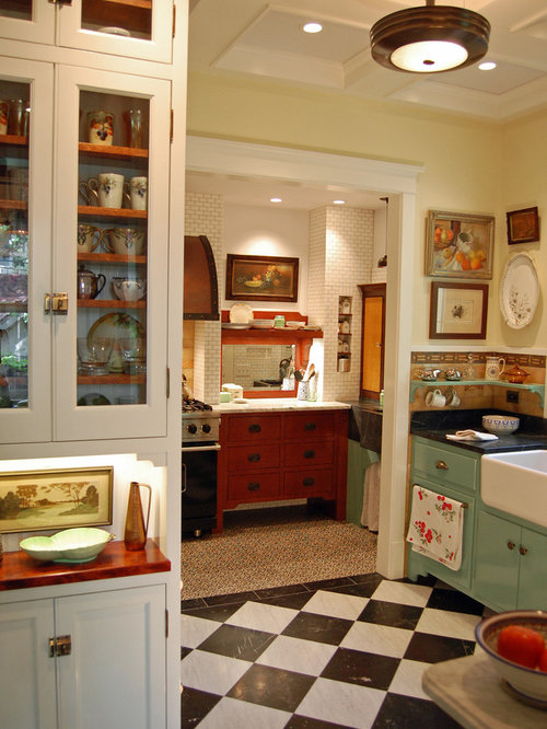 Inspiration For A Shabby Chic Style Multicolored Floor Kitchen Remodel In  Chicago With A Farmhouse