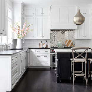 Beach Style Kitchen Ideas L Shaped Dark Wood Floor