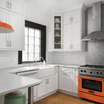 Historic White Kitchen Remodel w/ Color Pop & Modern Accents