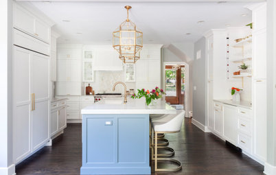 Kitchen of the Week: White, Blue and Brass Brighten Things Up