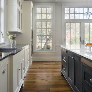 Traditional kitchen photos - Example of a classic kitchen design in Boston with soapstone countertops