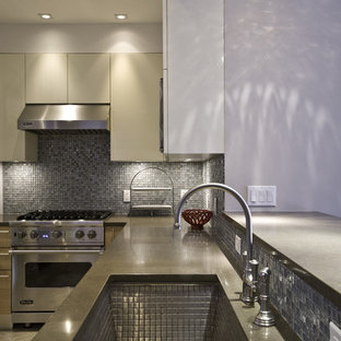 Example of a minimalist kitchen design in New York with stainless steel appliances, a single-bowl sink, flat-panel cabinets, medium tone wood cabinets, quartz countertops, mosaic tile backsplash and metallic backsplash