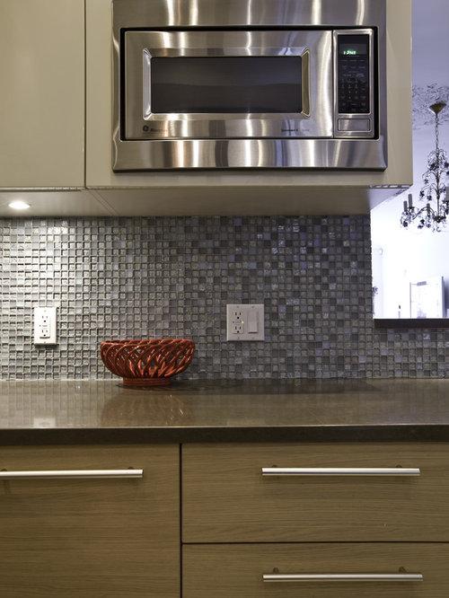 blue backsplash mosaic tile backsplash and flat panel cabinets