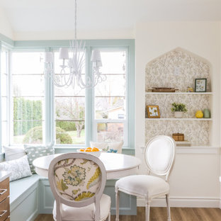 Design ideas for a small country galley separate kitchen in Seattle with a farmhouse sink, shaker cabinets, quartz benchtops, grey splashback, porcelain splashback, stainless steel appliances, vinyl floors and white benchtop.