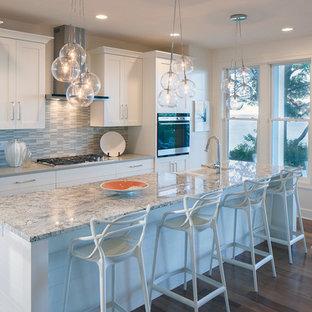 グランドラピッズのトランジショナルスタイルのおしゃれなキッチン (エプロンフロントシンク、落し込みパネル扉のキャビネット、白いキャビネット、御影石カウンター、パネルと同色の調理設備) の写真