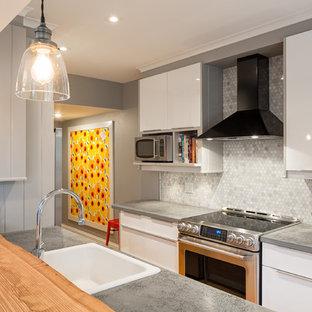 オタワの小さいトランジショナルスタイルのおしゃれなキッチン (シングルシンク、フラットパネル扉のキャビネット、白いキャビネット、木材カウンター、ベージュキッチンパネル、モザイクタイルのキッチンパネル、シルバーの調理設備の、淡色無垢フローリング) の写真