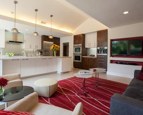 Trendy Galley Open Concept Kitchen Photo In Dallas With Quartz Countertops,  An Undermount Sink,