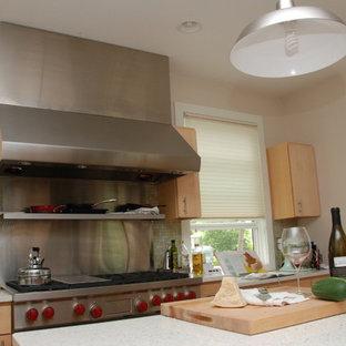 ニューアークの大きいエクレクティックスタイルのおしゃれなキッチン (エプロンフロントシンク、フラットパネル扉のキャビネット、淡色木目調キャビネット、緑のキッチンパネル、ボーダータイルのキッチンパネル、シルバーの調理設備の、コルクフローリング) の写真