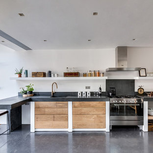 Mid Sized Contemporary Kitchen Designs   Mid Sized Trendy L Shaped Concrete  Floor