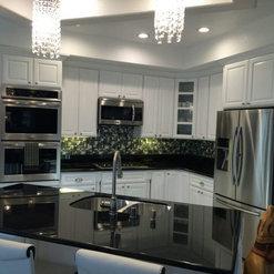 Home Concepts Plus Classic White Cabinets   Black Galaxy Granite