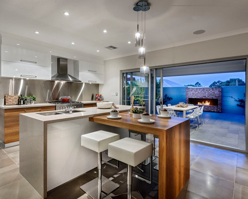 Inspiration For A Contemporary Concrete Floor Kitchen Remodel In Perth With  An Undermount Sink, Flat
