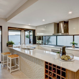 Photo of a mid-sized contemporary u-shaped kitchen in Perth with a double-bowl sink, flat-panel cabinets, white cabinets and a peninsula.