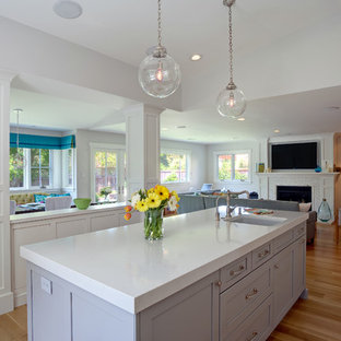 Attractive Pental Lattice Polished For Vanity Counters   Roniron. Read More. Mid Sized  Transitional L Shaped Medium Tone Wood Floor Open Concept Kitchen Photo In