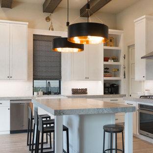 ボイシの広いエクレクティックスタイルのおしゃれなキッチン (エプロンフロントシンク、シェーカースタイル扉のキャビネット、白いキャビネット、御影石カウンター、白いキッチンパネル、セラミックタイルのキッチンパネル、シルバーの調理設備、クッションフロア、ベージュの床、グレーのキッチンカウンター) の写真
