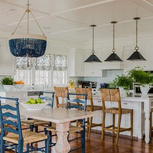 Coastal kitchen designs - Kitchen - coastal dark wood floor kitchen idea in Boston with shaker cabinets, white cabinets and an island