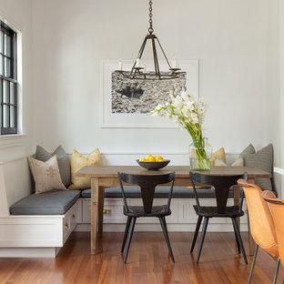 Farmhouse eat-in kitchen pictures - Eat-in kitchen - cottage medium tone wood floor eat-in kitchen idea in Boston