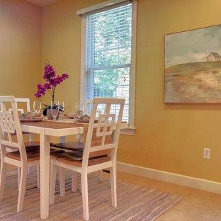 フィラデルフィアの中サイズのエクレクティックスタイルのおしゃれなキッチン (カーペット敷き、白い床) の写真
