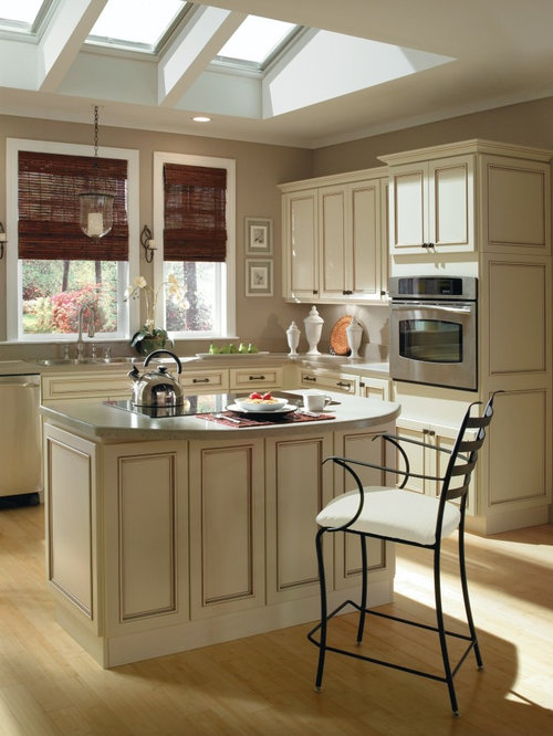 Charming Ivory Kitchen Cabinets Part - 1: Mid-sized Elegant L-shaped Light Wood Floor Eat-in Kitchen Photo In