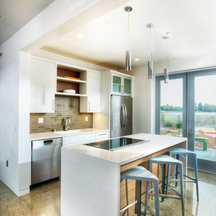 Mid Sized Contemporary Open Concept Kitchen Photos
