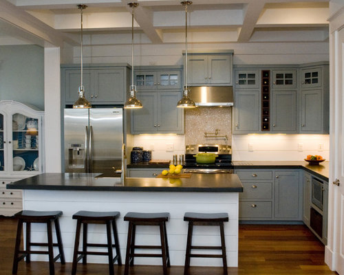 ... appliances, gray cabinets, concrete countertops and shaker cabinets