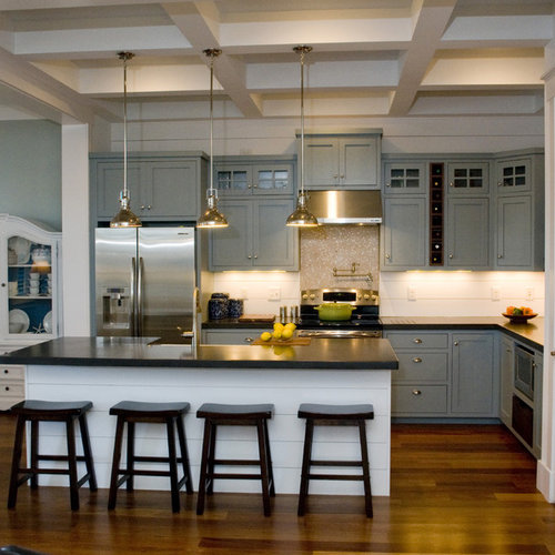 Grey Cabinets And Dark Counters