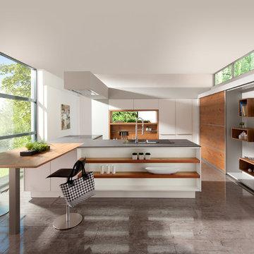 Honey Oak and White Cubistic Kitchen