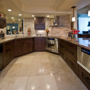 Inspiration for a small zen u-shaped marble floor eat-in kitchen remodel in Hawaii with shaker cabinets, dark wood cabinets, granite countertops, beige backsplash, stone tile backsplash, paneled appliances and a peninsula