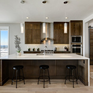 Contemporary kitchen photos - Kitchen - contemporary kitchen idea in Boise with flat-panel cabinets, brown cabinets, quartz countertops and white countertops